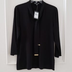 Black knit blouse with tie front